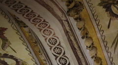 Chapel of Bones ceiling, skeletons, skulls, close up, tilt down, Portugal Stock Footage