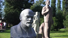 Sculpture of Lenin in Muzeon Park of Arts, Moscow, Russia. Stock Footage