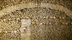 Chapel of Bones wall, skeletons, skulls, church, Evora, Portugal Stock Footage