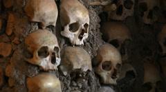 Chapel of Bones wall, skeletons, skulls, church, Evora, Portugal, close up Stock Footage