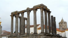 Roman Temple of Évora, Tower of Evora Cathedral, long shot, Portugal Stock Footage