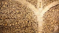Chapel of Bones wall, skeletons, skulls, church, pan left, Evora, Portugal Stock Footage