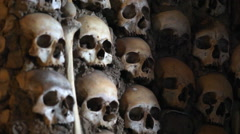 Chapel of Bones pillar, skeletons, skulls, church, Evora, Portugal, shallow DOF Stock Footage