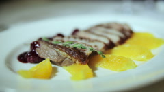 Dish roasted duck breast with orange Stock Footage