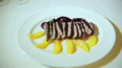 Dish roasted duck breast with orange - stock footage