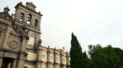 Church of Our Lady of Graça, bells, pan left, Evora, Portugal Stock Footage