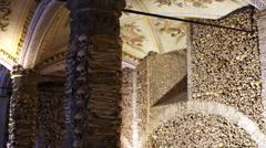 Chapel of Bones, skeletons, skulls, church, wide shot, Evora, Portugal Stock Footage