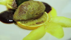 Stock Video Footage of Fried liver with lemon and sauce
