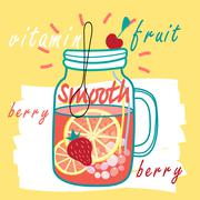 Delicious fruit smooth - stock illustration