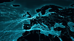 World map with connections. From Europe to Asia. Cyan. Stock Footage