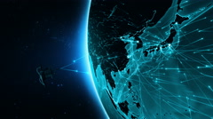 Satellite sending signals to Earth. Asia and China. 2 shots in 1 file. Cyan. Stock Footage