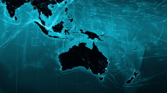 World map connections. Oceania and Asia. Cyan. More options in my portfolio. - stock footage