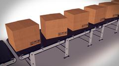 Shipping Boxes On A Conveyor Belt/ Shipping Merchandise. - stock illustration