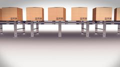 Stock Illustration of Shipping Boxes On A Conveyor Belt/ Shipping Merchandise.