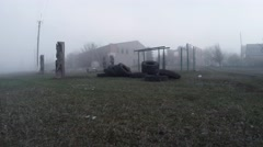 Foggy Landscapes of Downtrodden Rural Backwoods in Early Spring Stock Footage