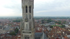 Aerial view of the Belfry of Bruges Stock Footage