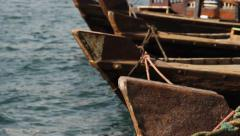 Abra boats wooden prow, traditional ferry vessel details Stock Footage
