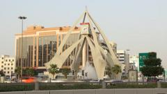 Dubai Clock Tower roundabout, time lapse shot at evening time Stock Footage