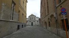 View of Havenhuis de Caese on Hoogstraat in Bruges Stock Footage