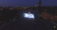 Ascendind over a concert at Budapest Park, Budapest Stock Footage