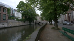 Canal Dijver seen from Steenhouwersdijk street in  Bruges Stock Footage