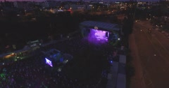 Drone over the Budapest Park music stage Stock Footage