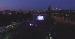 Crowd enjoying music from the sky, Budapest Park Stock Footage