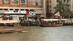 Bur Dubai Abra Station from water side, time lapse, ferry approach Stock Footage