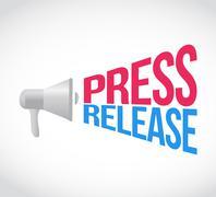 Press release megaphone message at loud. concept Stock Illustration