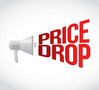 Price drop megaphone message at loud. concept Stock Illustration