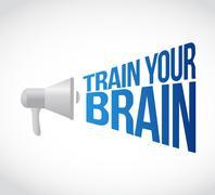 Train your brain megaphone message at loud. Stock Illustration