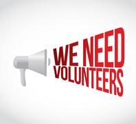 We need volunteers megaphone message at loud. Stock Illustration