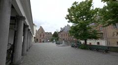 Vismarkt, statue, Dijver Canal, old buildings and people walking in Bruges Stock Footage