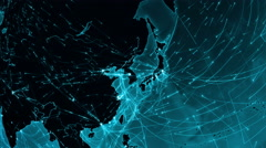 World connections. Asia. Japan-China. Cyan. More options in my portfolio. Stock Footage