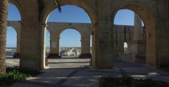 View from Upper Baraka Gardens on war museum on Grand Harbor in Valletta, Malta Stock Footage