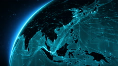 Earth connections. Asia. Cyan. More options in my portfolio. - stock footage