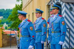 Prague, Czech Republic - 13 August, 2015: Palace guards on duty wearing their - stock photo