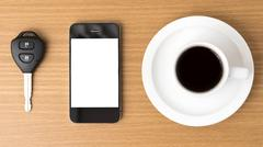 coffee cup and phone and car key - stock photo