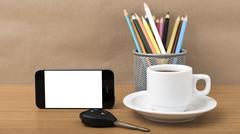 Coffee,phone,car key and pencil Stock Photos