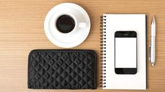 Coffee,phone,notepad and wallet Stock Photos