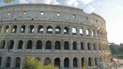 wide angle panning shot of the colosseum, rome - stock footage