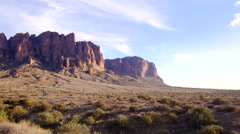 Pan of Superstition Mountains Desert in Arizona - stock footage