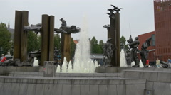 View of a fountain with statues in 't Zand square, Bruges Stock Footage