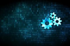 Stock Illustration of Data concept: Gears on digital background