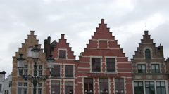 Le Panier D'or restaurant in Markt Square, Bruges Stock Footage