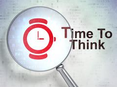 Time concept: Watch and Time To Think with optical glass Stock Illustration