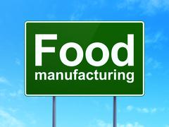 Industry concept: Food Manufacturing on road sign background - stock illustration