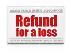 Insurance concept: newspaper headline Refund For A Loss Stock Illustration