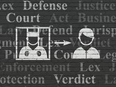 Law concept: Criminal Freed on wall background Stock Illustration