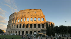 sunset shot of the colosseum in rome, italy - stock footage